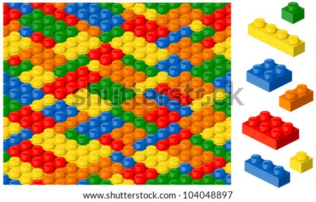 Plastic blocks seamless vector background - stock vector