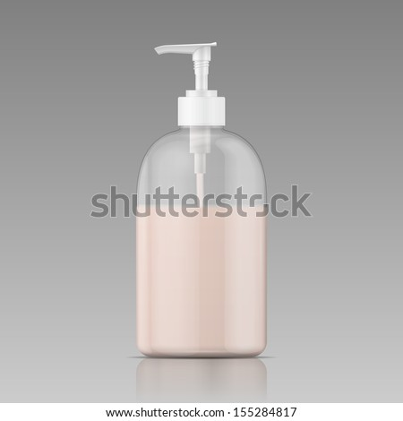 Plastic bottle with dispenser cap with liquid soap, shampoo, shower gel, lotion, body milk. Ready for your design. Packaging collection. Vector illustration. - stock vector