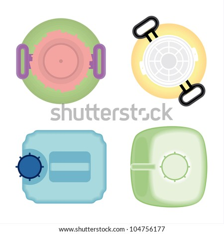 Plastic bottles cans of gasoline chemical liquid. Abstract plan view. vector - stock vector