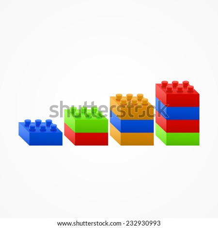 Plastic building Blocks chart. Isolated White Background. - stock vector