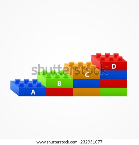 Plastic building Blocks stairs. Isolated on White Background. - stock vector