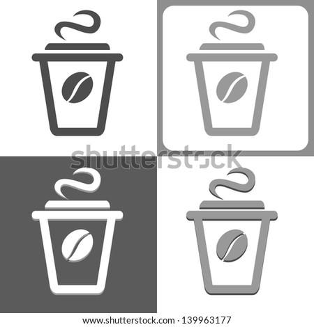 Plastic coffee cup vector icon - stock vector