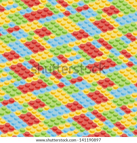 Plastic construction blocks. Seamless vector - stock vector