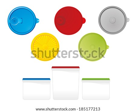 plastic container with lids - stock vector