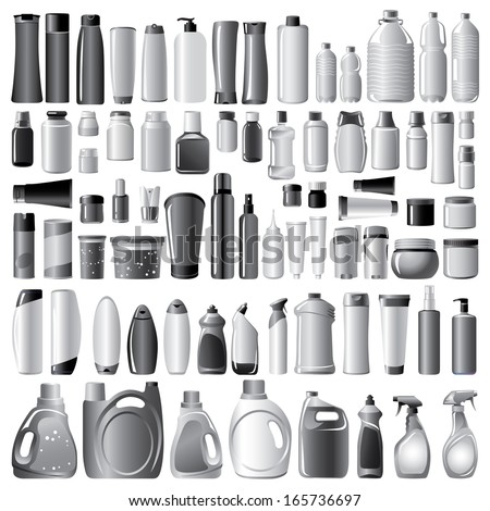 Plastic Containers - stock vector