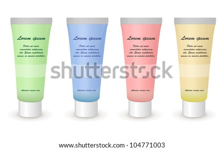 plastic cosmetic container with metal cap vector - stock vector
