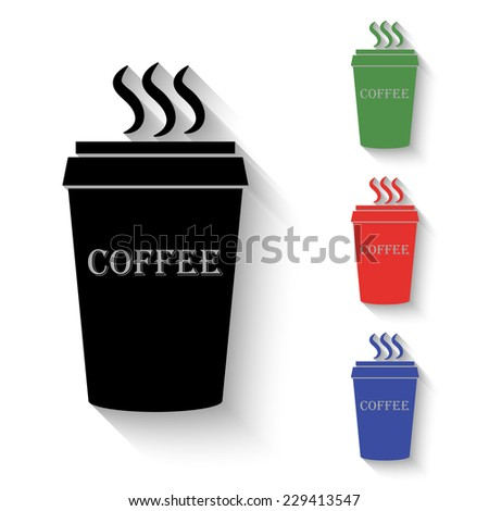 plastic cup of coffee icon - black and colored (green, red, blue) illustration with shadow - stock vector