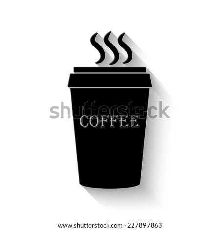plastic cup of coffee icon - vector illustration with shadow - stock vector