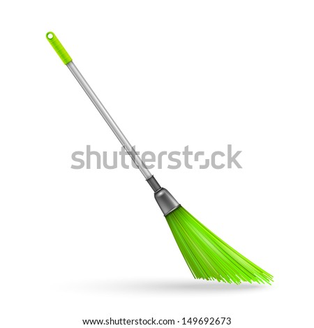 Plastic garden broom. Vector illustration - stock vector