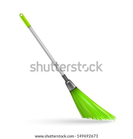 Plastic garden broom. Vector illustration - stock vector