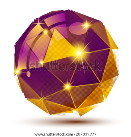 Plastic grain colorful dimensional geometric object, sparkling gemstone dotted element. - stock vector