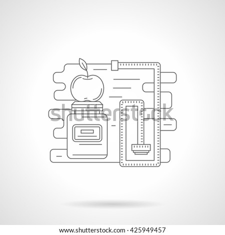 Plastic jar and measuring tape. Sport nutrition, diet and fitness. Line style vector icon - stock vector