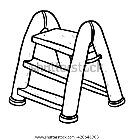 plastic ladder / cartoon vector and illustration, black and white, hand drawn, sketch style, isolated on white background. - stock vector