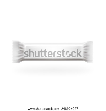Plastic Package Bar Long Cover Vector. Chocolate, wafers, sweets and candy pack. Easy editable in layers, high detailed with lights and shadows separated. Just put your graphic. - stock vector