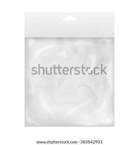 Plastic pocket bag white bag with a transparent cellophane. Paper strips for design with a hanger top. Mock up template for your packaging design. Isolated on white background. - stock vector