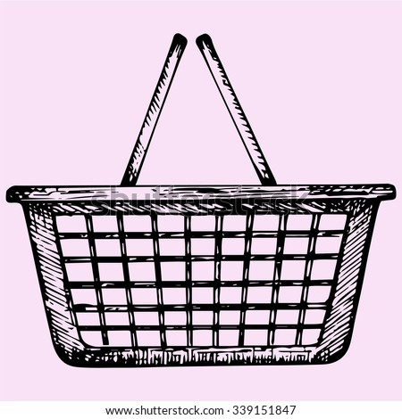 plastic shopping basket, doodle style, sketch illustration, hand drawn, vector - stock vector