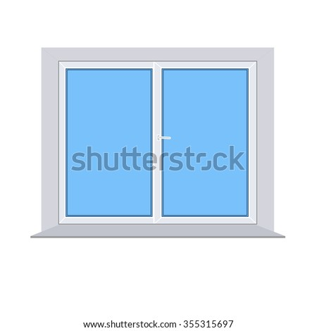 plastic window on white background vector - stock vector