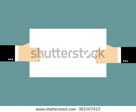 Plate Billboard and hands. An empty plate, hold hands of businessman. Pure white sheet of paper into hands of man. Space for text - stock vector