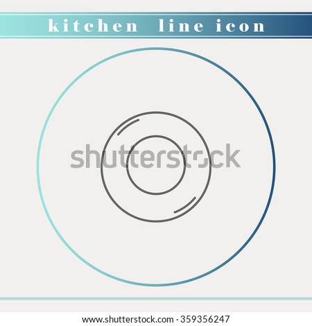 Plate, bowl or dish outline thin line icon. Household appliance, kitchen and restaurant accessories, equipment, cooking utensil, cutlery tools, kitchenware and cookware for food preparation. - stock vector