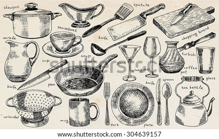 plate, bowl, stewpot, pan, colander, mug, fork, spoon, soup ladle, spatula, carafe, martini glass, glass, knife, turkish coffee pot, chopping board,  tea kettle, tableware on the vintage background  - stock vector
