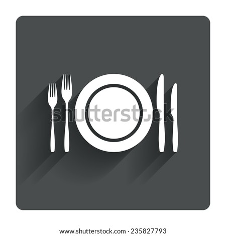 Plate dish with forks and knifes. Eat sign icon. Cutlery etiquette rules symbol. Gray flat square button with shadow. Modern UI website navigation. Vector - stock vector
