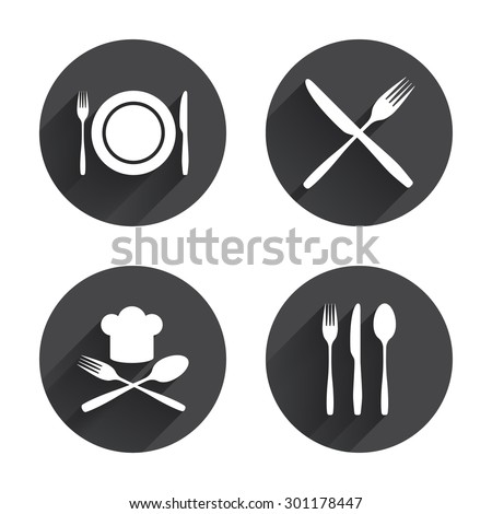 Plate dish with forks and knifes icons. Chief hat sign. Crosswise cutlery symbol. Dining etiquette. Circles buttons with long flat shadow. Vector - stock vector