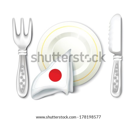 Plate Fork Knife with Japan Flag - stock vector
