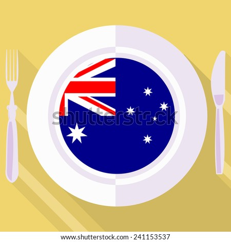 plate in flat style with flag of Australia - stock vector
