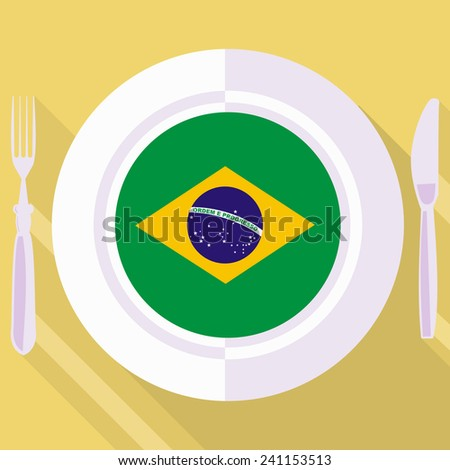 plate in flat style with flag of Brazil - stock vector