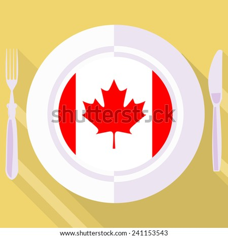 plate in flat style with flag of Canada - stock vector