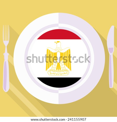 plate in flat style with flag of Egypt - stock vector