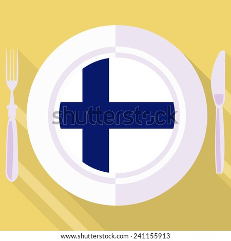 plate in flat style with flag of Finland - stock vector