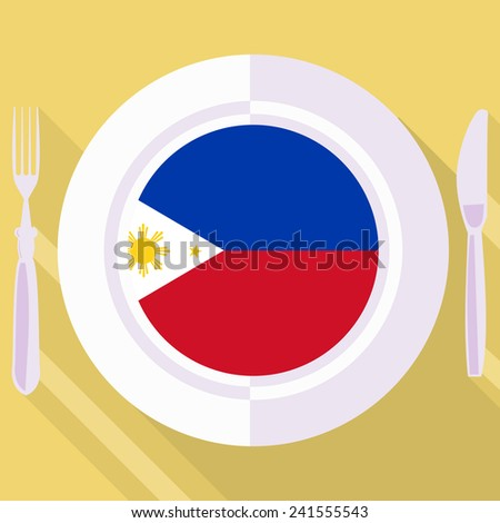 plate in flat style with flag of Philippines - stock vector