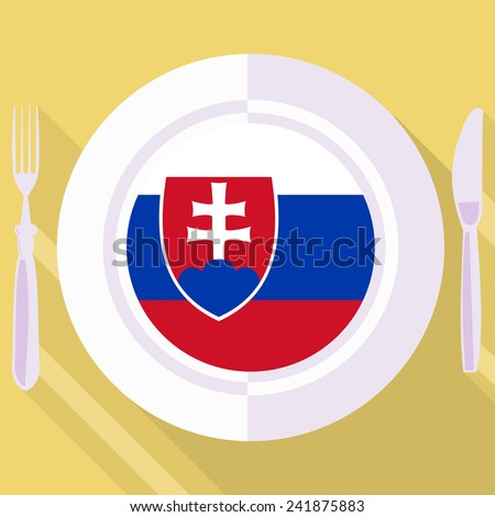 plate in flat style with flag of Slovakia - stock vector
