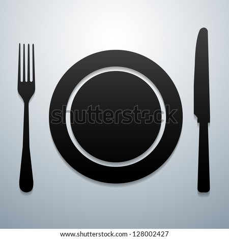 Plate knife and fork - stock vector