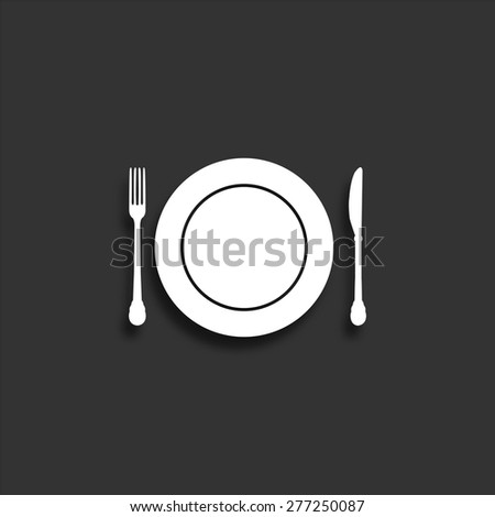 Plate knife and fork icon with shadow - vector illustration - stock vector