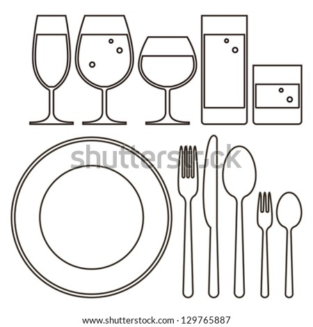 Plate, knife, fork, spoon and drinking glasses - stock vector