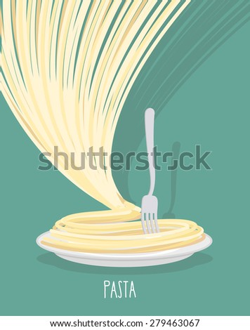Plate of pasta. A dish of Spaghetti. Vector illustration. - stock vector