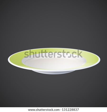 Plate on grey background. Vector design. - stock vector
