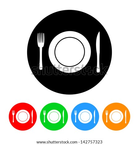 Plate Setting Food & Restaurant Icon - stock vector