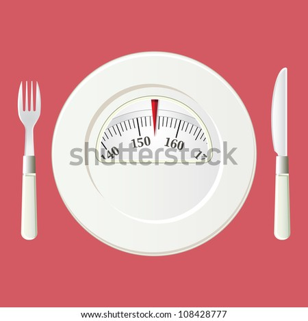 Plate with a weight balance scale. Diet concept with vintage colors. No transparencies or filter effects like drop shadow used; only basic fills and gradients - stock vector