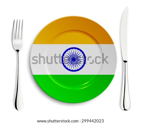 Plate with flag of India with fork and knife isolated on white. Vector EPS10 illustration.  - stock vector