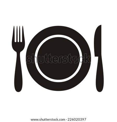 Plate with fork and knife restaurant menu icon - stock vector