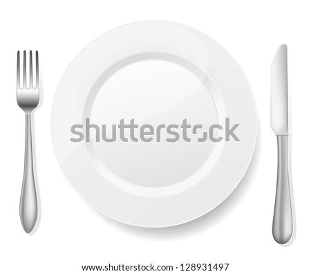 plate with knife and fork on white - stock vector
