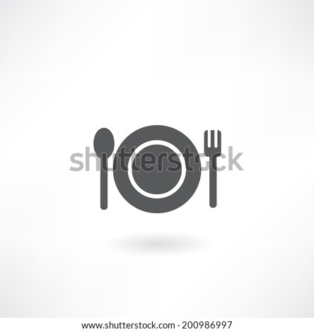 plate with spoon and fork icon - stock vector