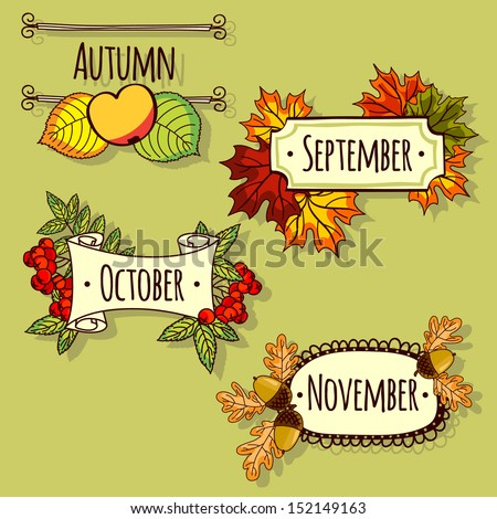 Plates with autumn months. set of templates - stock vector