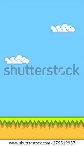 Platform Game Background Flat Retro Style - stock vector
