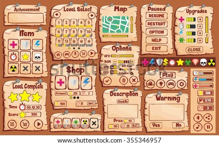 Platform Game User Interface For Tablet / Illustration of a platform game user interface, in cartoon style with basic buttons and icons for creating game and application - stock vector
