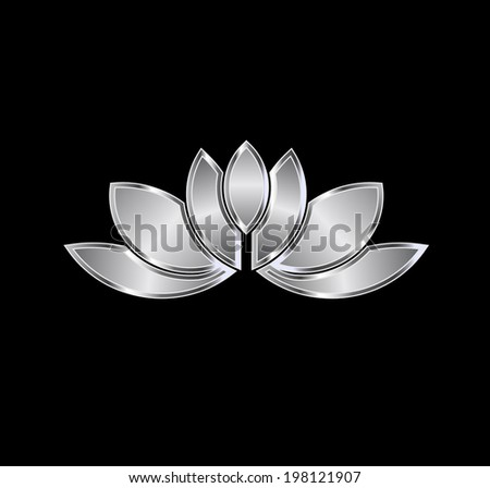 Platinum Lotus plant image. Concept of luxury spa, good fortune, purity. Vector icon - stock vector