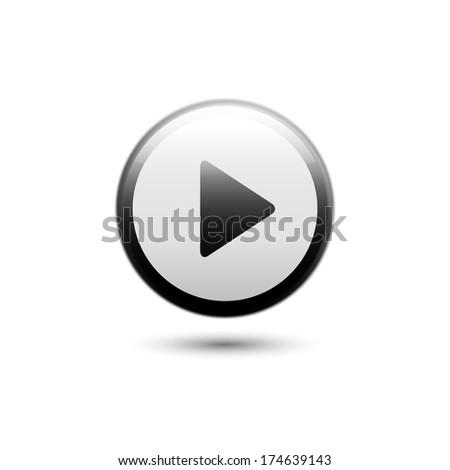 Play button web icon - stock vector